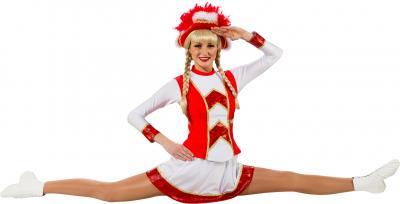 O9822-44 rot-weiß mit Goldborte Damen Funkenkostüm Mariechenkostüm Gr.44 - 1