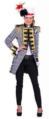 T2893-0102 schwarz-weiß Damen Uniform Jacke Kontrast - 1