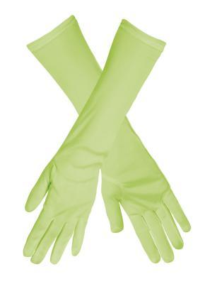 B03095 neon grün Damen Finger Handschuhe lang glatt - 1
