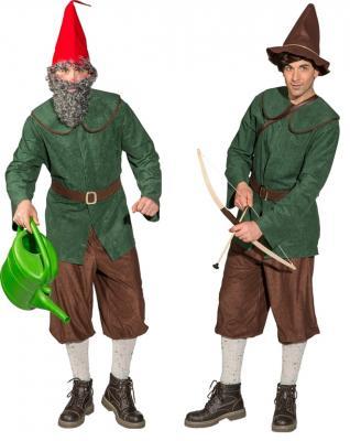 O7013 grün-braun Herren Zwergen Kostüm Robin Hood Jäger Bauer - 5