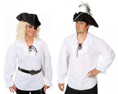 O9176 weiß Damen Piratenbluse Mittelalter Bluse - 1