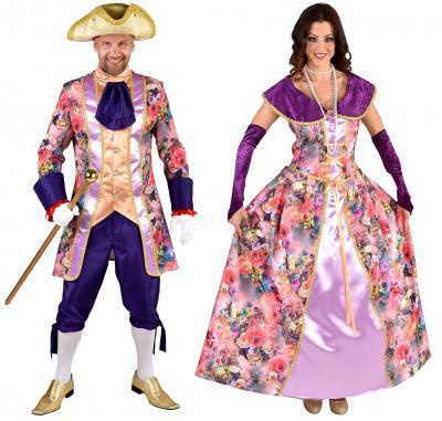 M219145 bunt-lila Rosen Damen Rokoko Kleid Kostüm Marquisin Prinzessin - 1