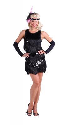 T2086-0100 schwarz Damen Pailletten Kleid Charlestonkleid - 1