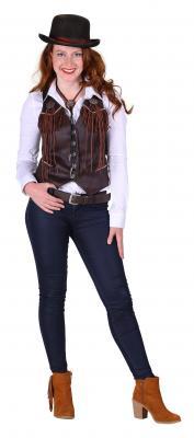 T2286-1300 braun Damen Cowgirl Weste Country Weste - 1