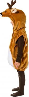 O5161-104 braun-weiß Kinder Junge Mädchen Reh Kostüm-Weste mit Kapuze Gr.104 - 1