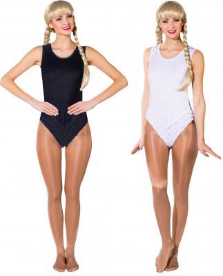 O40147 schwarz Kinder Mädchen Damen elastischer Seamless-Body mit Rüschen und Häkchenverschluss - 2