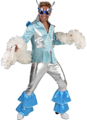 M220293 silber-türkis Herren Disco Anzug Dancing King Kostüm Rock-Space - 1