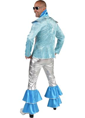 M220293 silber-türkis Herren Disco Anzug Dancing King Kostüm Rock-Space - 2