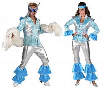 M220293 silber-türkis Herren Disco Anzug Dancing King Kostüm Rock-Space - 3