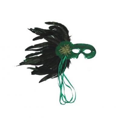 O46012 grün Damen Augen Maske mit Pailletten und Federn - 1