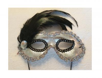 K52780414 silber Damen Augen Maske mit Schmuckstein und Feder - 1