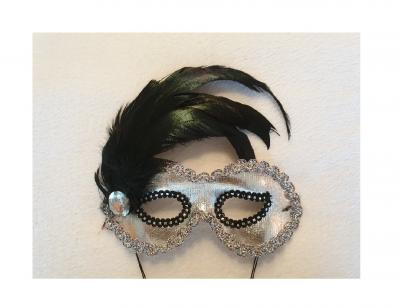 K52780414 silber Damen Augen Maske mit Schmuckstein und Feder - 2