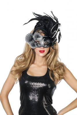W34376-00 schwarz Damen Herren Venizianische Maske De Luxe mit Fäscher-Feder - 1