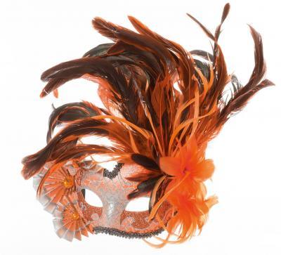 W34376-07 orange Damen Herren Venizianische Maske De Luxe mit Fäscher-Feder - 1