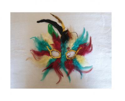 Fu613025 bunt Damen Herren Venizianische Maske Federmaske - 1