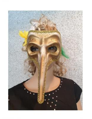W34359-C gold Damen Herren Venizianische Langnasen Maske - 1