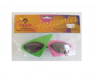 O47541-16 grün-pink Damen Herren Brille Style Funbrille - 1