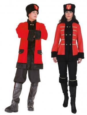 O7038 schwarz-rot Herren Kosaken Kostüm Jacke-Hose-Mütze - 1