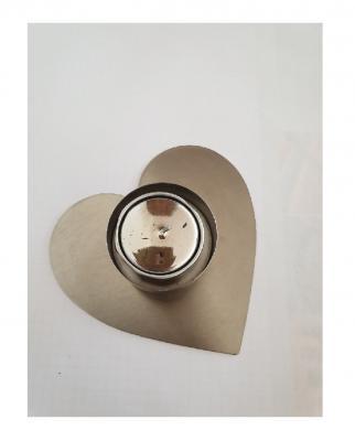 GI17 silberfarbend Teelichthalter Herz - 1