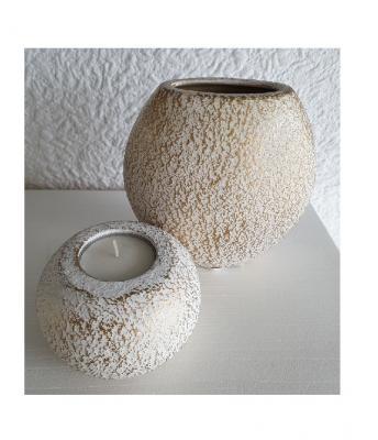 Gi28 weiß-gold Keramik Vase klein Gilde Geschenkartikel - 1