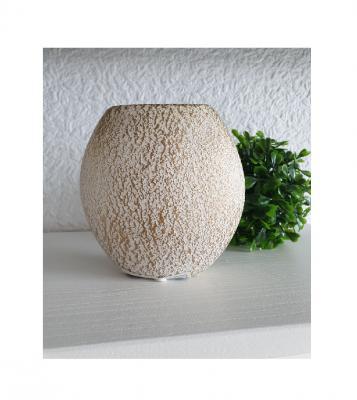 Gi28 weiß-gold Keramik Vase klein Gilde Geschenkartikel - 2