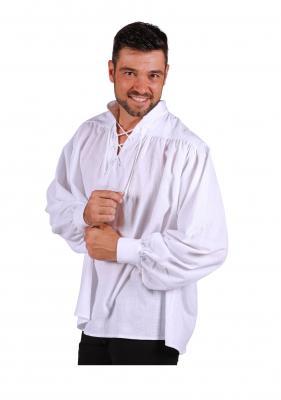 T3163-0200 weiß Herren Piraten-Mittelalter Shirt - 1
