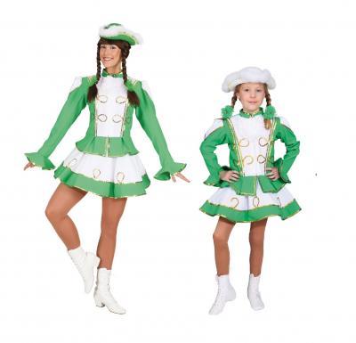 O663 grün-weiß mit Goldborte Kinder-Mädchen Funkenkostüm - 1