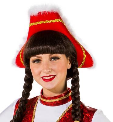 O28082-26-55-56 rot mit Goldborte Kinder-Damen Funkenhut Gr.55-56 - 1