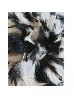 N11-55-56 schwarz mit Silberborte und schwarz-weißer Boa Kinder-Damen Funkenhut Gr.55-56 - 4