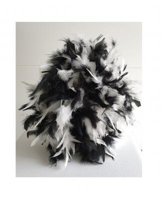 N11-55-56 schwarz mit Silberborte und schwarz-weißer Boa Kinder-Damen Funkenhut Gr.55-56 - 5