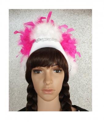 N7-55-56 weiß mit Silberborte und pink-weißer Boa Kinder-Damen Funkenhut Gr.55-56 - 1