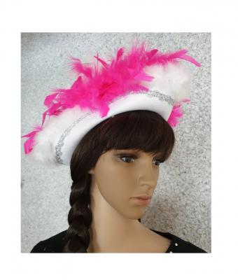 N7-55-56 weiß mit Silberborte und pink-weißer Boa Kinder-Damen Funkenhut Gr.55-56 - 2