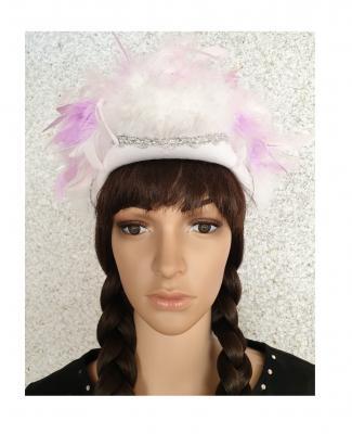 N5-55-56 weiß mit Silberborte und rosa-flieder-weißer Boa mit Glitzerfäden Kinder-Damen Funkenhut Gr.55-56 - 1