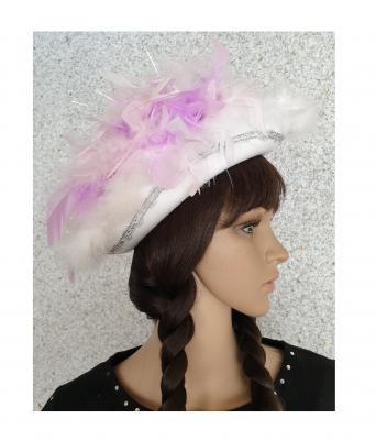 N5-55-56 weiß mit Silberborte und rosa-flieder-weißer Boa mit Glitzerfäden Kinder-Damen Funkenhut Gr.55-56 - 2