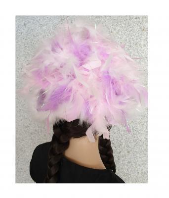 N5-55-56 weiß mit Silberborte und rosa-flieder-weißer Boa mit Glitzerfäden Kinder-Damen Funkenhut Gr.55-56 - 3