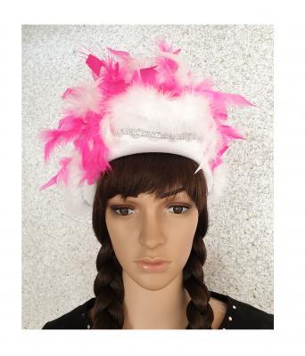 N3-55-56 weiß mit Silberborte und pink-weißer Boa Kinder-Damen Funkenhut Gr.55-56 - 1