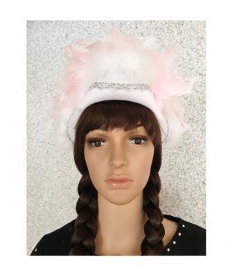 N2-55-56 weiß mit Silberborte und rosa-weißer Boa Kinder-Damen Funkenhut Gr.55-56 - 1