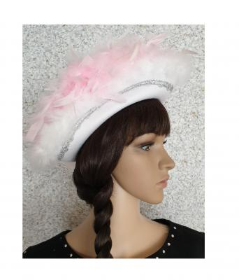 N2-55-56 weiß mit Silberborte und rosa-weißer Boa Kinder-Damen Funkenhut Gr.55-56 - 2