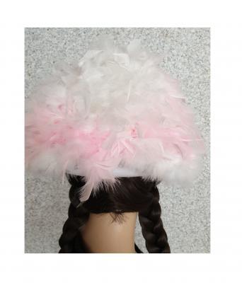 N2-55-56 weiß mit Silberborte und rosa-weißer Boa Kinder-Damen Funkenhut Gr.55-56 - 3