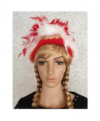 N1-55-56 rot mit Goldborte und rot-weißer Boa Kinder-Damen Funkenhut Gr.55-56 - 1