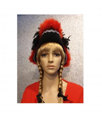 N12 schwarz mit Silberborte (roter Marabu) und schwarzer Boa mit Silberfäden Kinder-Damen-Herren Funkenhut - 1