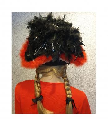 N12 schwarz mit Silberborte (roter Marabu) und schwarzer Boa mit Silberfäden Kinder-Damen-Herren Funkenhut - 3