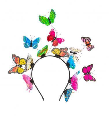 O22070-50 bunt Haarreif Schmetterling Einheitsgröße - 1