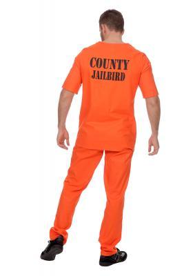 W5009 orange Herren Prisoner-Gauner-Jail Kostüm - 1