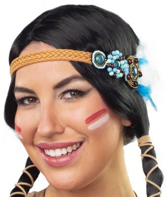 O48200 mehrfarbig Damen Indianer Schmuck Set 3 Teilig Halsband Kopfband und Armband - 1