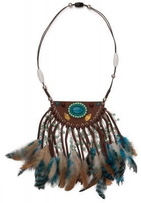 O48200 mehrfarbig Damen Indianer Schmuck Set 3 Teilig Halsband Kopfband und Armband - 2