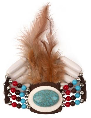 O48200 mehrfarbig Damen Indianer Schmuck Set 3 Teilig Halsband Kopfband und Armband - 3