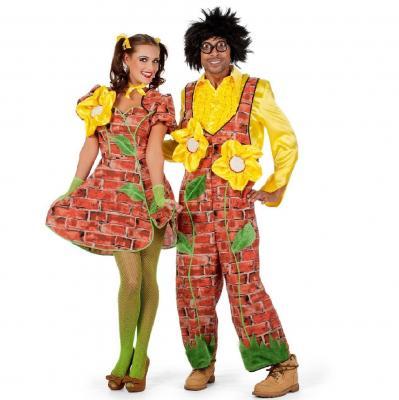 W4546 braun-gelb Damen Sonnenblumen Kleid Mauerblümchen Kostüm - 1