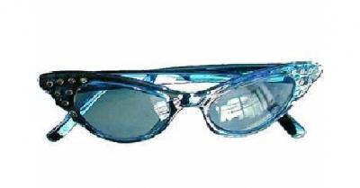 O47562-13 blau Damen Herren Hippie Brille Spaßbrille - 1