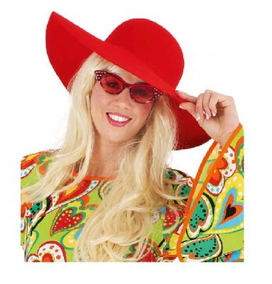 O47562-18 rot Damen Herren Hippie Brille Spaßbrille - 1
